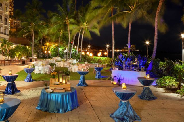 blue dining tables surrounded with palm trees